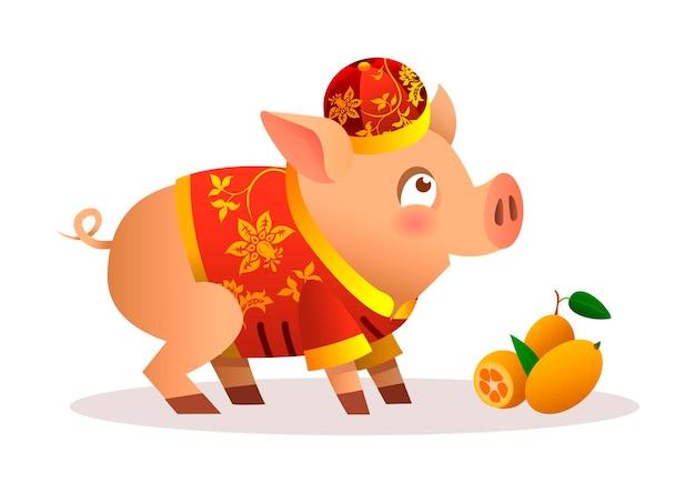 Chinesisches kleines schwein-cartoon-charakter-design mit traditionellem chinesischem rotem kostüm und rotem hut. reife orange mandarinen. vektorillustration lokalisiert auf weißem hintergrund. tierkreis des schweins.