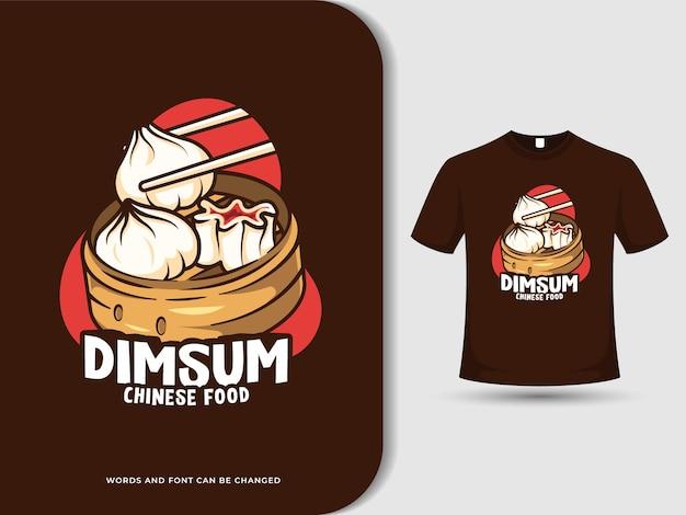 Chinesisches lebensmittel-cartoon-logo von dimsum mit bearbeitbarem text und t-shirt