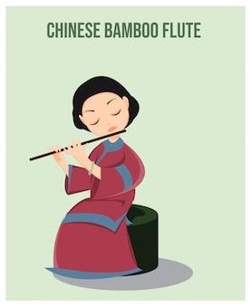 Chinesisches mädchen, das bambusflötenmusik spielt