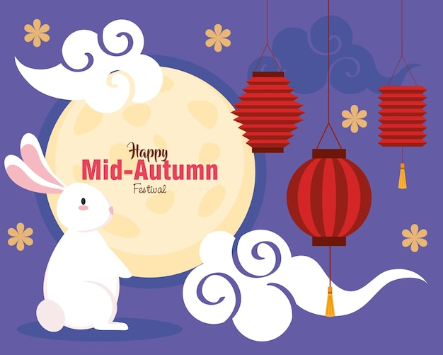 Chinesisches mittherbstfest mit vollmond, kaninchen und traditioneller dekoration