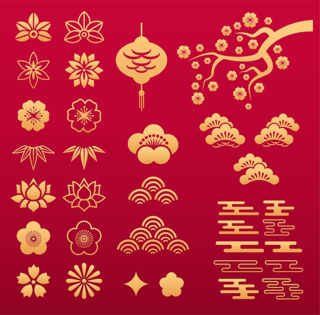 Chinesisches muster. asiatische goldblumenornamente und dekorationselemente