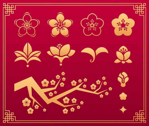 Chinesisches muster. orientalische asiatische traditionelle goldverzierungen