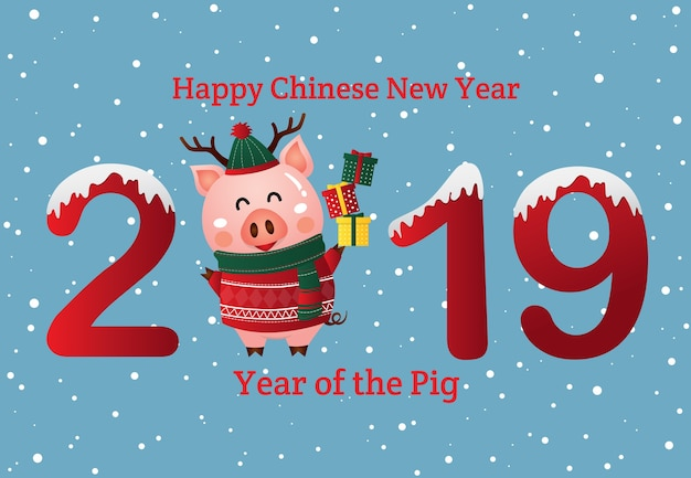 Chinesisches neues jahr 2019 des schweins. weihnachtsgrußkarte