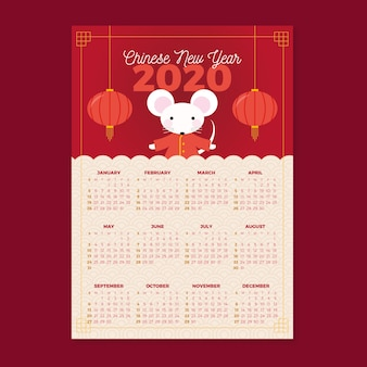 Chinesisches neues jahr des flachen designkalenders