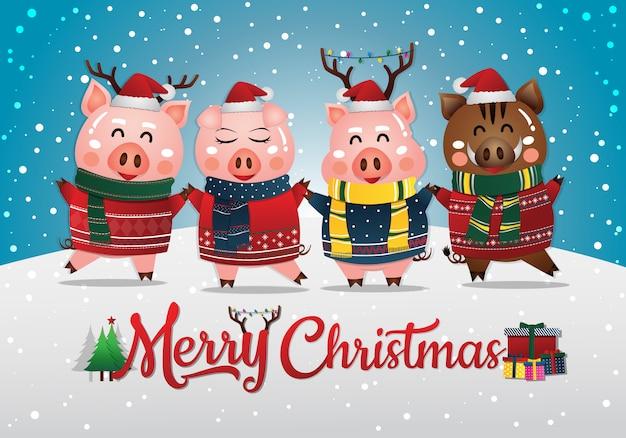 Chinesisches neujahr 2019 des schweins. weihnachtsgrußkarte
