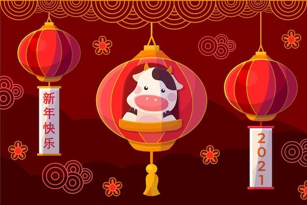 Chinesisches neujahr 2021 hintergrund