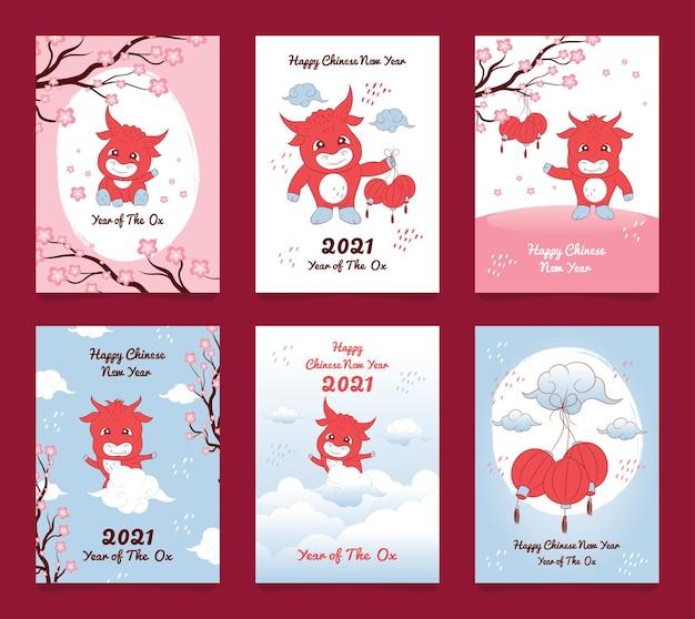 Chinesisches neujahr 2021 karikaturgrußkarte