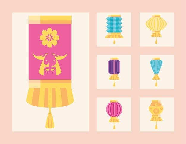Chinesisches neujahr 2021 lampen set design, china kultur und feier thema