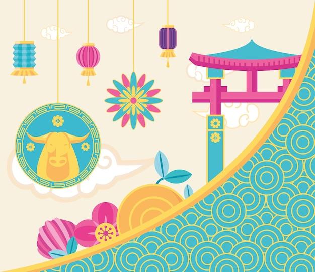 Chinesisches neujahr 2021 stierbügel lampen und bogen design, china kultur und feier thema