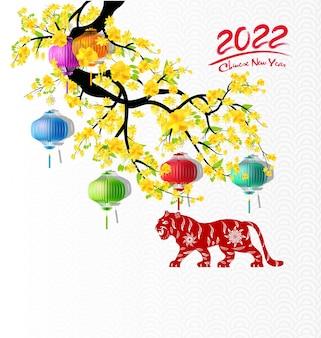 Chinesisches neujahr 2022 jahr der tigerrot- und goldblume und asiatischer elemente papierschnitt mit handwerk