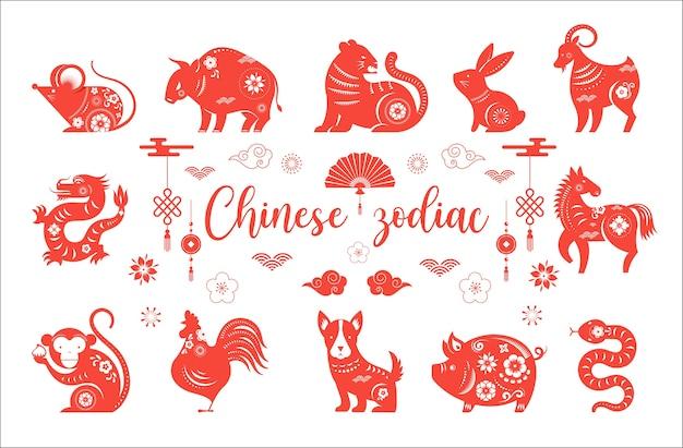 Chinesisches neujahr, chinesische tierkreistiere symbole.