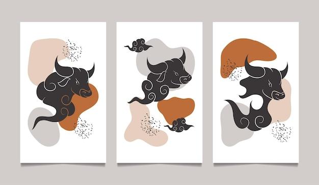 Chinesisches neujahr der abstrakten wandkunst des ochsen