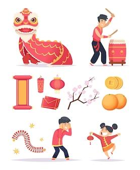 Chinesisches neujahr. drachenfeuerwerkskörper papierlaterne und glückliche kinderfiguren feiern