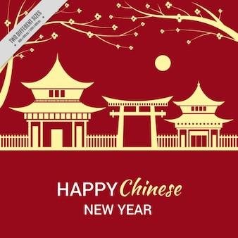 Chinesisches neujahr hintergrund mit landschaft