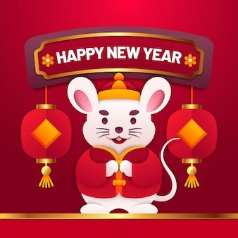 Chinesisches neujahr im papierstil