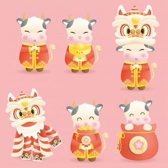 Chinesisches neujahr, jahr des ochsen mit niedlichem ochsen und chinesischem löwen.