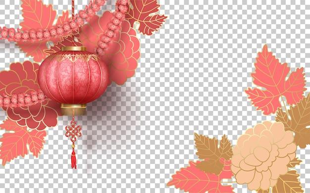 Chinesisches neujahr mit dekorativen pfingstrosenblumenlaternen und blumengirlande