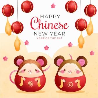 Chinesisches neujahr mit mäusen
