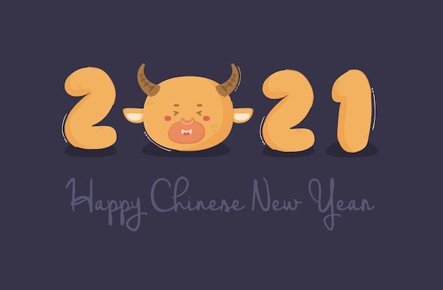 Chinesisches neujahr mit ochsenillustration