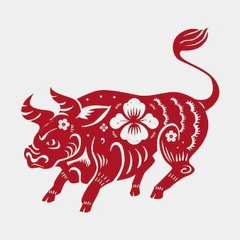 Chinesisches neujahr ochsen vektor roter tierkreiszeichen aufkleber