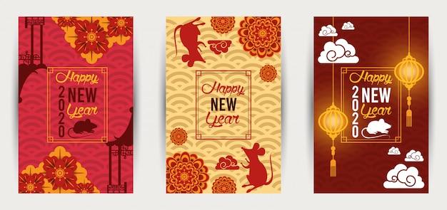 Chinesisches neujahr ratte set postkarten
