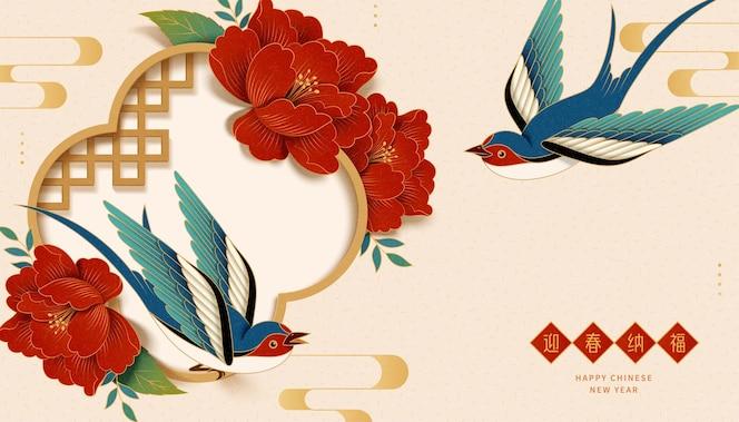 Chinesisches neujahrsbanner mit dem gott des reichtums, der neben einem riesigen roten umschlag steht