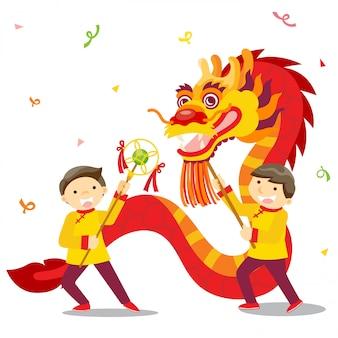 Chinesisches neujahrsfest / drachentanz
