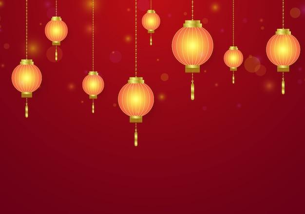 Chinesisches neujahrsfest verziert mit chinesischen laternen