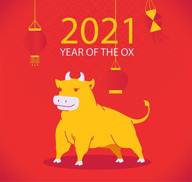 Chinesisches neujahrsjahr 2021 des ochsenplakats mit stier auf rotem chinesischem musterhintergrund und papierlaterne
