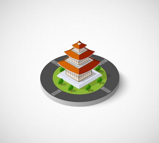 Chinesisches pagodengebäudehaus