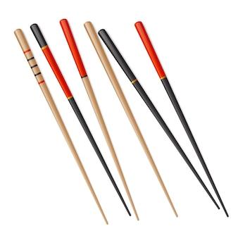 Chinesisches sushi des essstäbchenvektors lokalisierte japanisches kotelettlebensmittelstock. japanischer bambusstab aus holz.