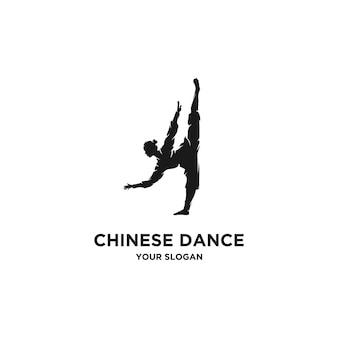 Chinesisches tanzen silhouette logo vektor