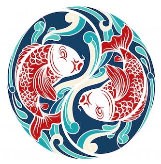 Chinesisches thema mit fischen