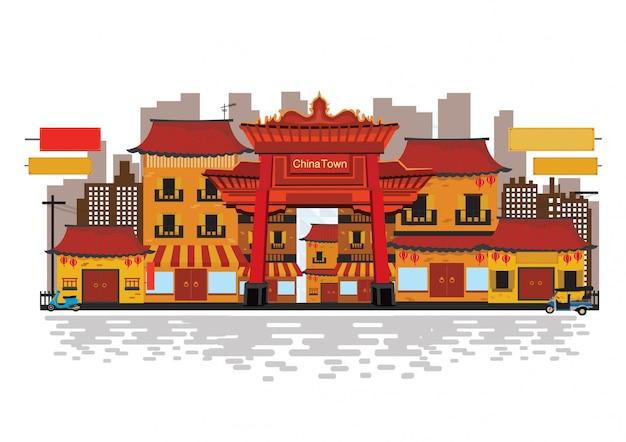 Chinesisches traditionelles in der china-stadt.