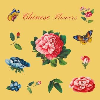 Chinesisches vintage-blumen-set