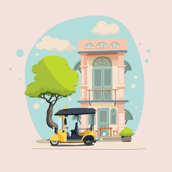 Chino-phuket mit 'tuk tuk' taxi