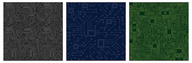 Chip computer board pattern set. motherboard modern mit nahtlosem muster grün blau monochrom.