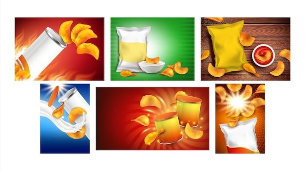 Chips snack kreative promo poster set vector. kartoffel-zwiebel-chips mit paprika-geschmack, leere tüten-pakete, mayonnaise und ketchup-soßen auf werbebannern. stilkonzept vorlage illustrationen