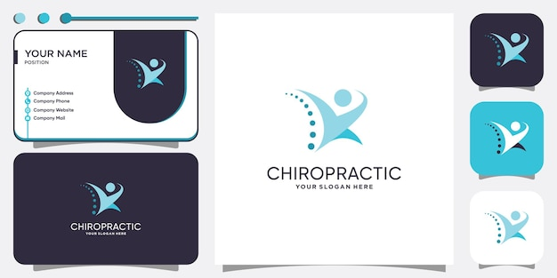 Chiropraktik-logo mit modernem kreativem konzept premium-vektor