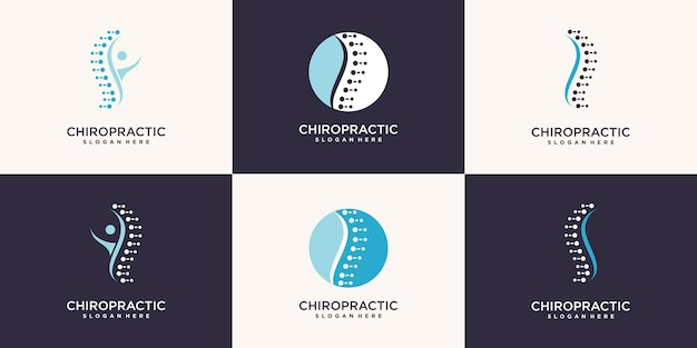 Chiropraktik-logosammlung mit einzigartigem elementstil premium-vektor