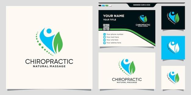 Chiropraktik-logoschablone mit natürlichem blatt- und visitenkartendesign premium-vektor