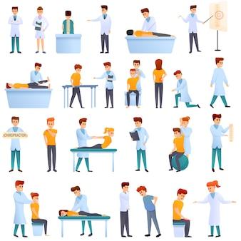 Chiropraktiker-set im cartoon-stil