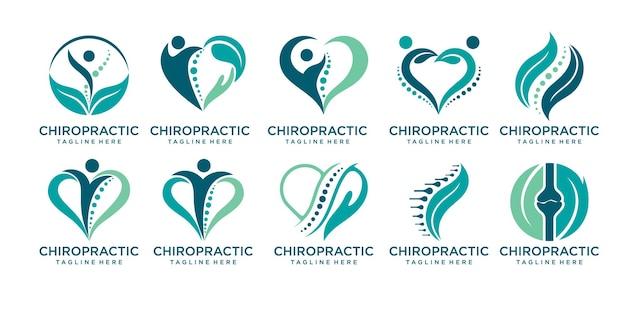 Chiropraktische massage rückenschmerzen und osteopathie icon set logo design template print