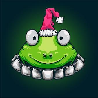 Chirstmas grüner frosch logo maskottchen