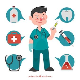 Chirurg mit sprechenden blasen und medizinischen elementen
