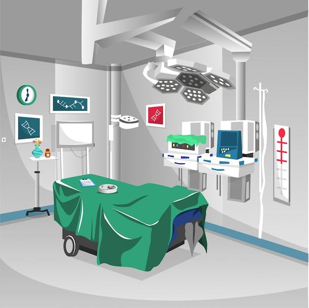 Chirurgieraum im krankenhaus mit lampenbetriebsgeräten