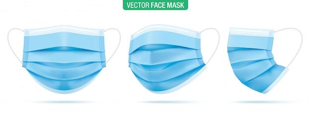 Chirurgische gesichtsmaske, illustration. blaue medizinische schutzmasken, aus verschiedenen winkeln auf weiß isoliert. corona-virenschutzmaske mit ohrschlaufe, vorder-, dreiviertel- und seitenansicht.