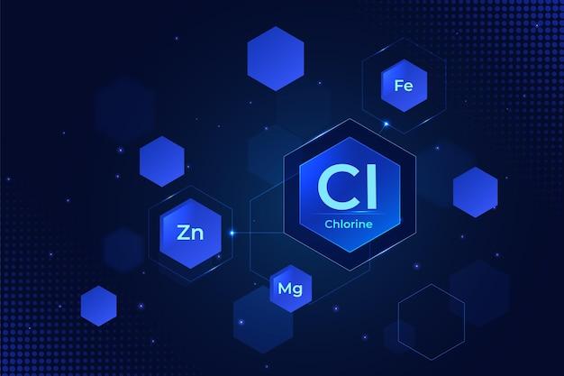 Chlorhintergrund mit sechseckformen