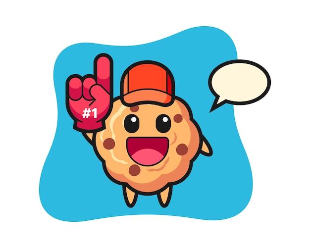 Chocolate chip cookie cartoon mit nummer fans handschuh