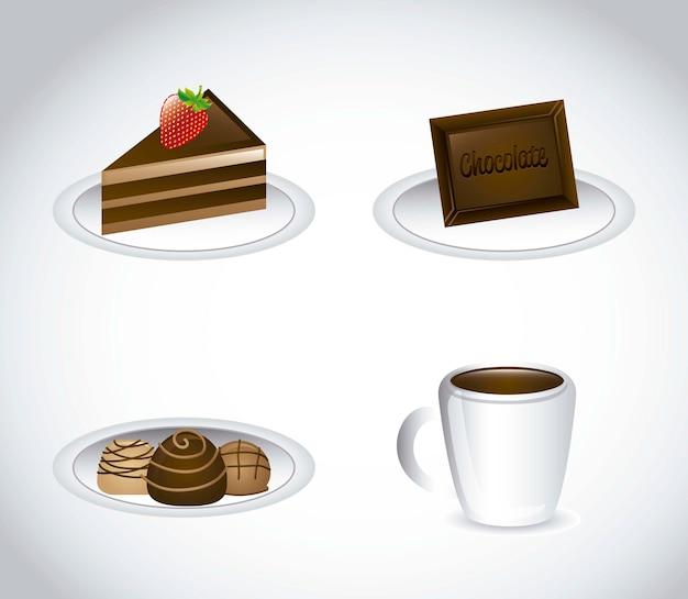 Chocolated-elemente über grauer hintergrundvektorillustration